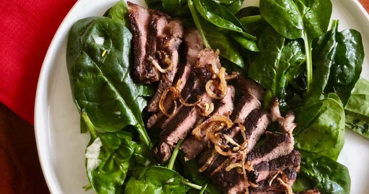 Chipotle Cocoa Rubbed Steak and Wilted Spinach Salad | cookglobaleatlocal.com