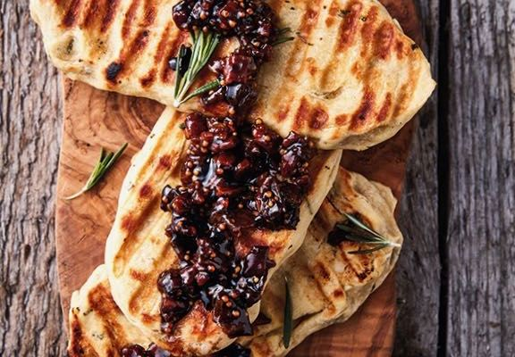 Bacon Jam on Braaied Rosemary Flatbreads, a Recipe from More Braai the Beloved Country by Jean Nel | cookglobaleatlocal.com