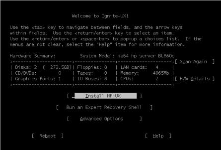 Ignite=UX install screen