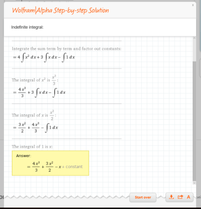 Indefinite Integral solution step by step
