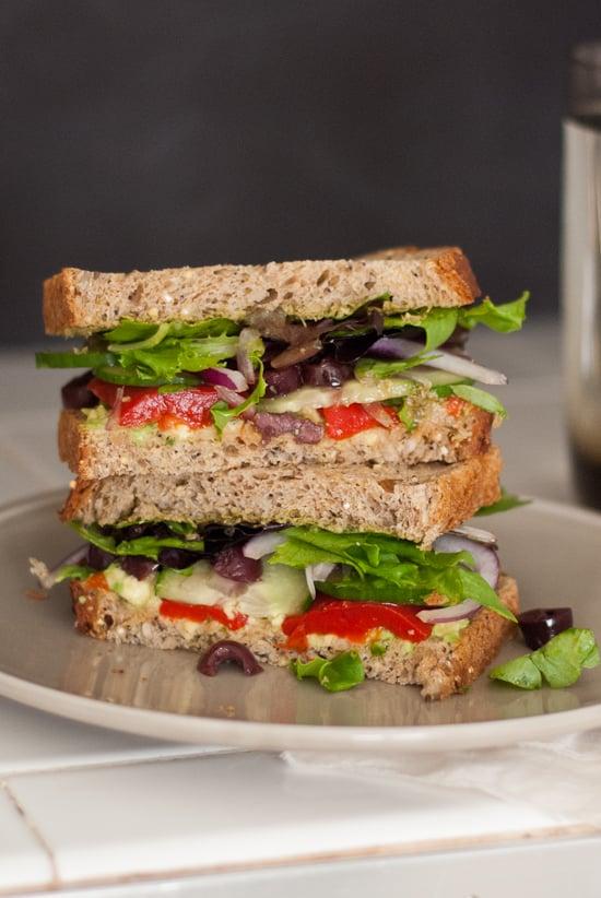Vegetarian greek avocado sandwich