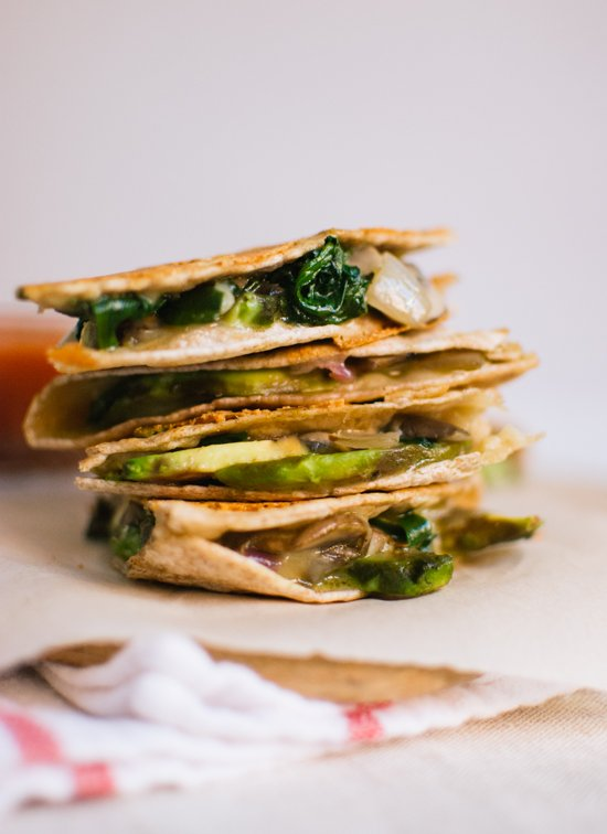 Crispy mushroom, spinach and avocado quesadillas