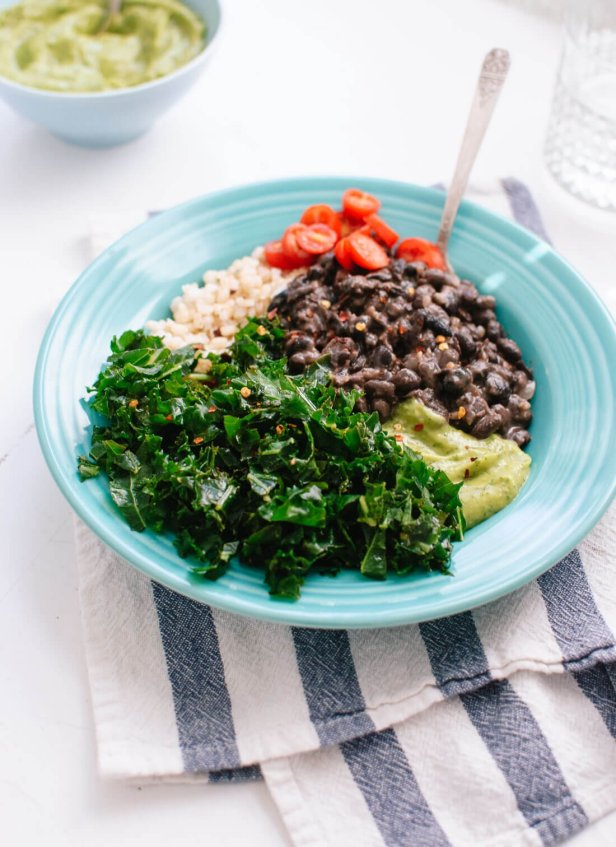 Kale black bean burrito bowls make a delicious, redeeming, vegan dinner that packs well for tomorrow's lunch. cookieandkate.com