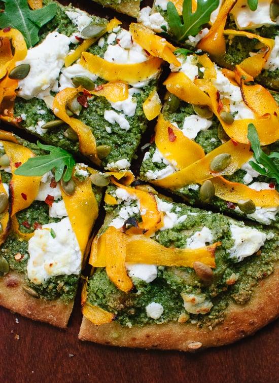 Homemade butternut, arugula pesto and goat cheese pizza - cookieandkate.com