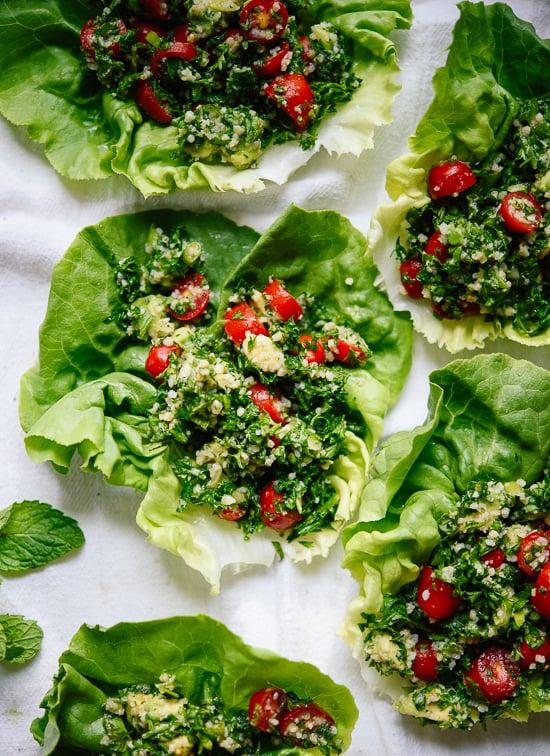 Avocado tabbouleh appetizer - cookieandkate.com