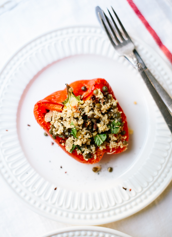 Lentil couscous stuffed peppers, a simple and healthy weeknight meal! - cookieandkate.com