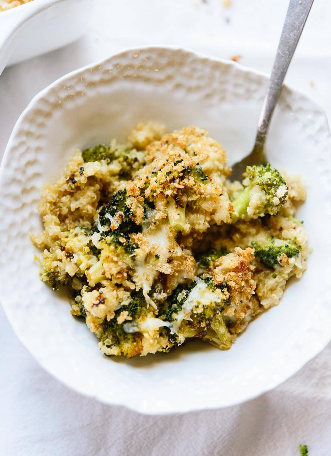 Broccoli casserole, made better with roasted broccoli, cheddar cheese, quinoa and whole grain breadcrumbs. - cookieandkate.com