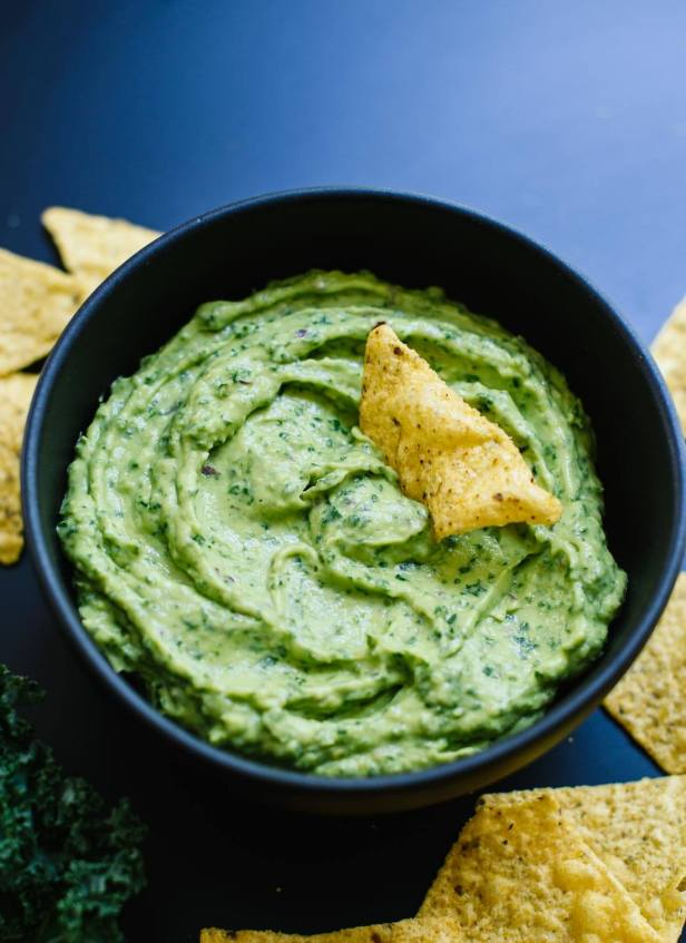 Kale guacamole! It's so easy to make in a food processor. cookieandkate.com