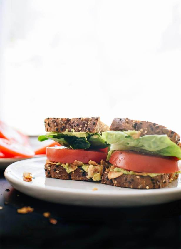 This delicious vegetarian/vegan BLT sandwich is a healthier spin on the classic BLT! cookieandkate.com