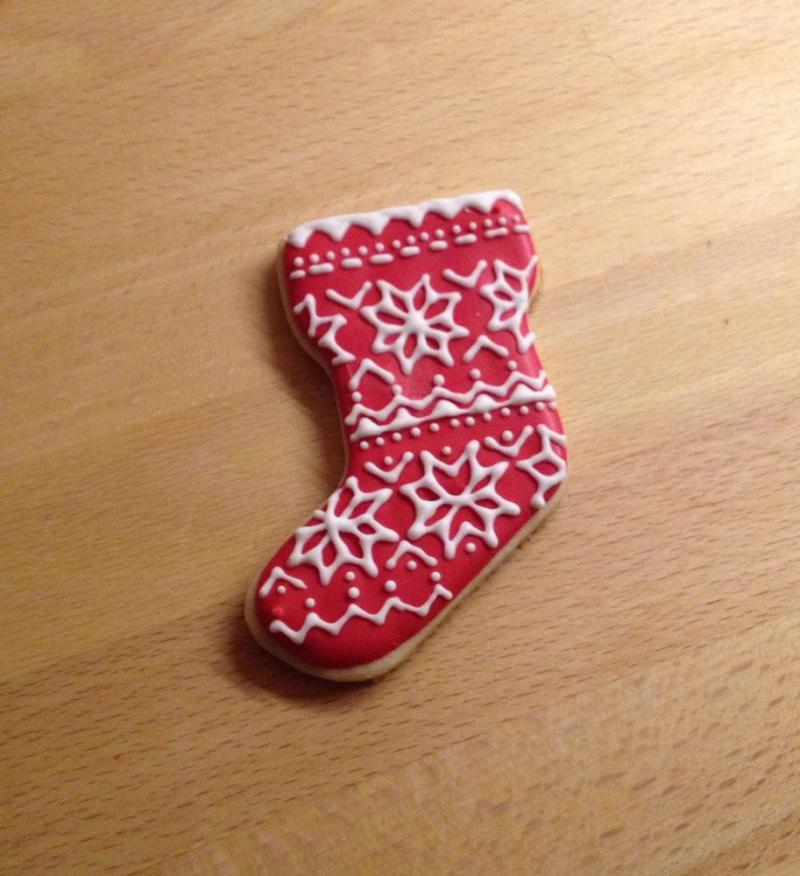 Decorated Christmas Stocking Cookies