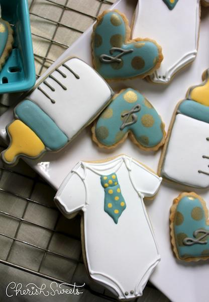 Tie onesie bottle and heart cookies in baby boy blue  Cookie Connection