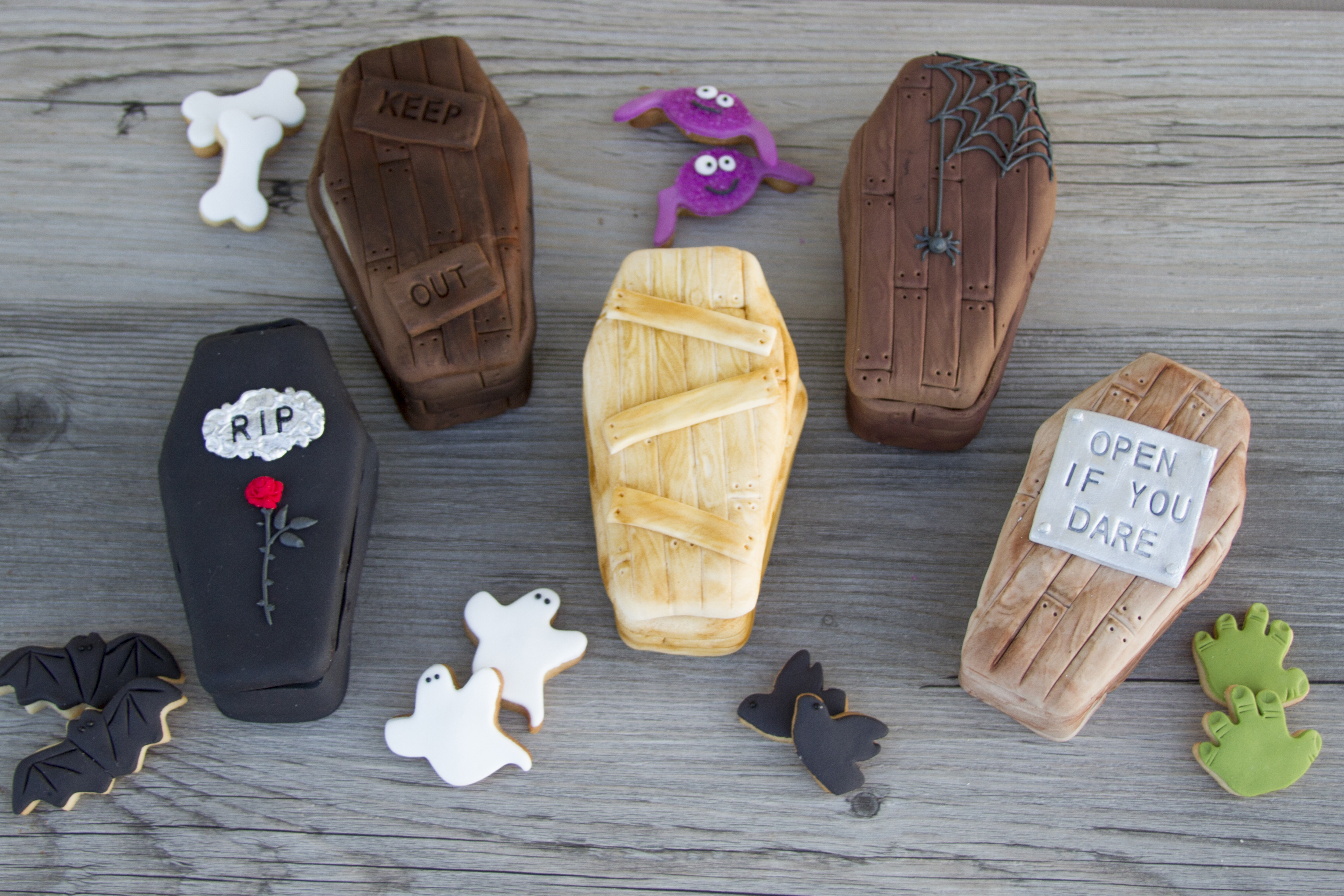 3D Coffin Cookies filled with mini Halloween Cookies
