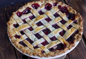 Mixed Berry Pie with a lattice top crust