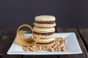 Peanut Butter Macarons with a Chocolate Peanut Butter Ganache Filling