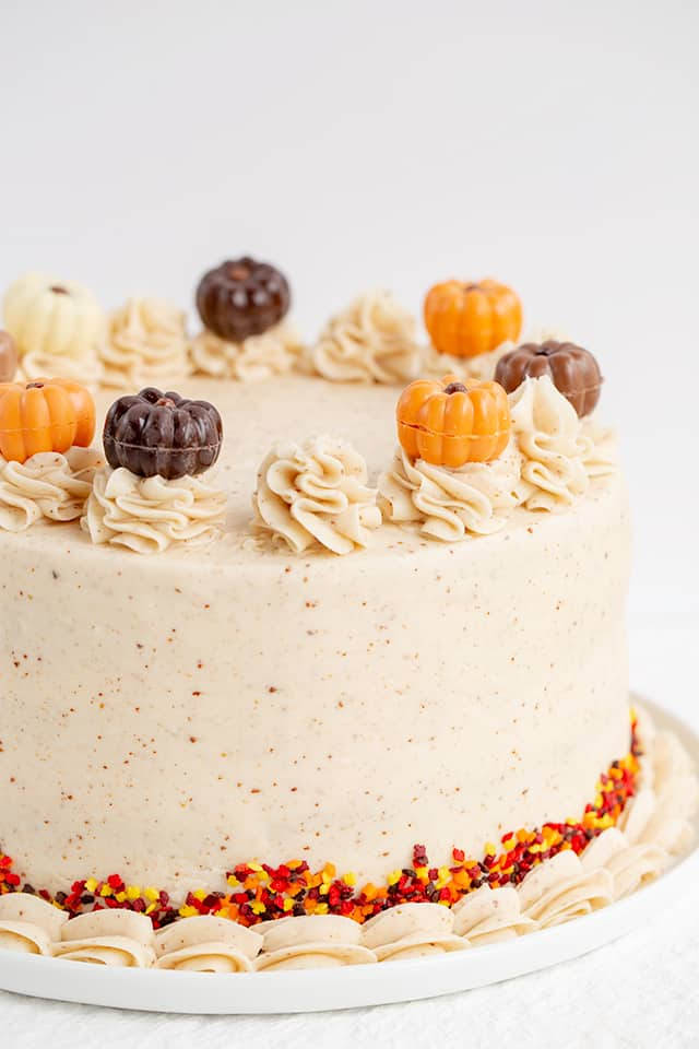 pumpkin cake recipe with white background and white serving plate
