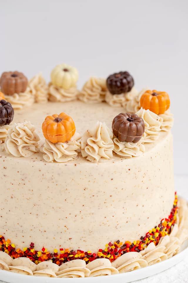 pumpkin spice cake on a white plate