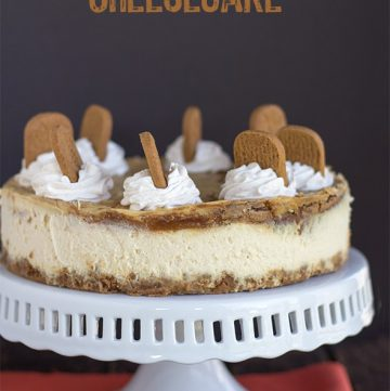 Side shot of cookie butter cheesecake