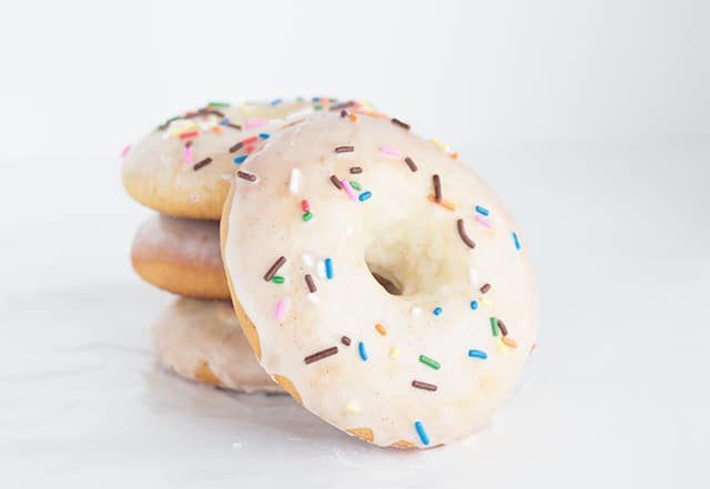 Baked Yeast Donuts glazed, with sprinkles on top