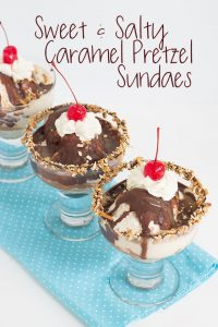 Sweet and Salty Caramel Pretzel Sundaes