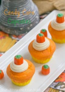 Candy Corn Cupcakes - Cute and festive cupcakes made with a simple cake mix. The perfect cupcake for any halloween party!