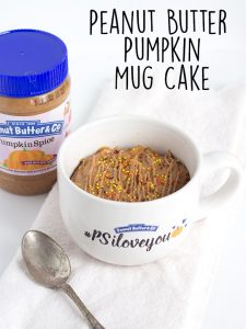 Peanut Butter Pumpkin Mug Cake - the perfect serving of cake that can easily be made in the microwave. It's full of peanut butter, pumpkin, pumpkin spice, and incredibly tender.