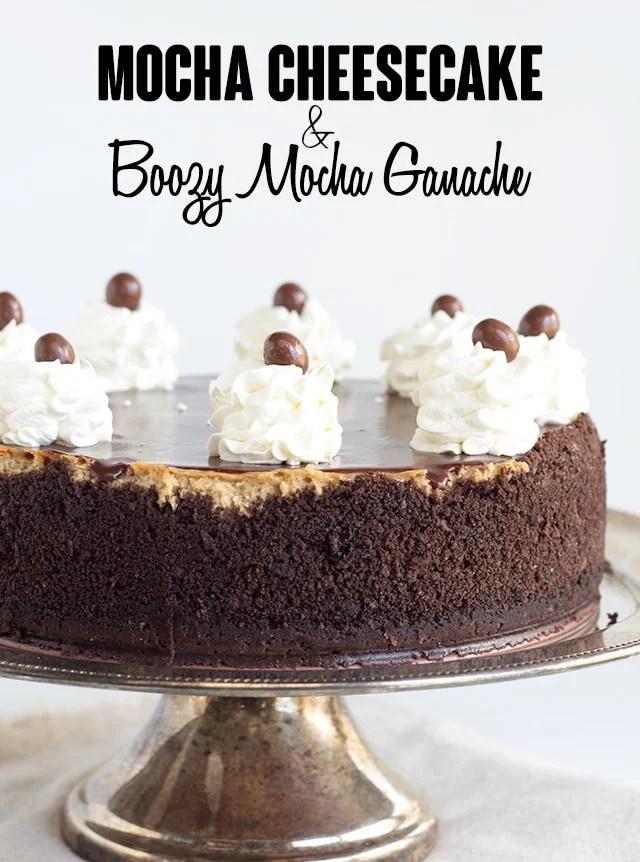 mocha cheesecake on a silver cake plate