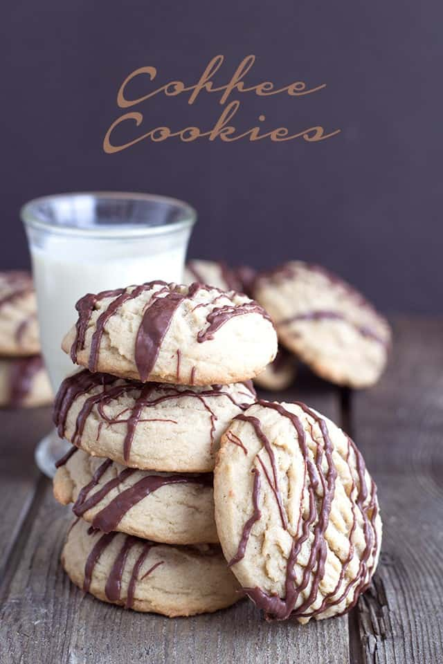 Coffee Cookies with a Chocolate Drizzle and a tall glass of milk