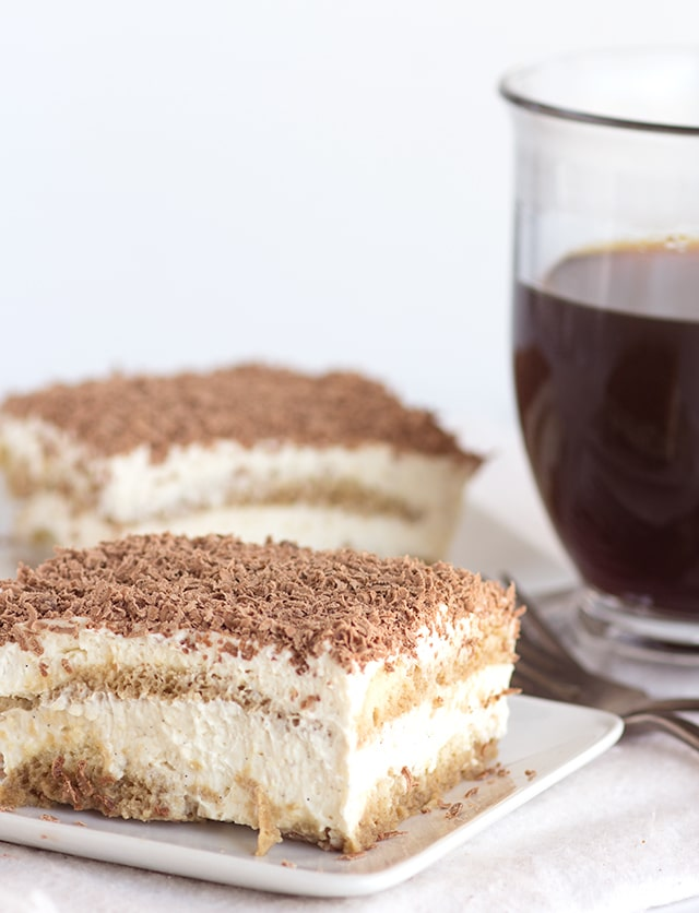 Slice of homemade easy tiramisu and a cup of coffee