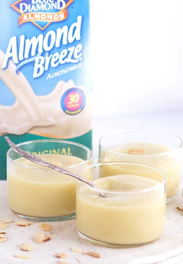 dishes of creamy almond pudding made with almond milk!