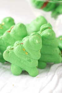 Christmas Macarons shaped like Christmas trees
