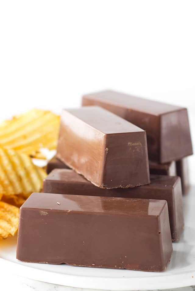 Crispy Chocolate Peanut Butter Candy Bars - sweet and salty candy bars with the shiny chocolate coating and a peanut butter potato chip filling.