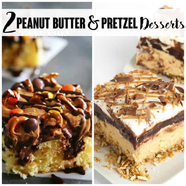 titled image (and shown): 2 peanut butter and pretzel desserts