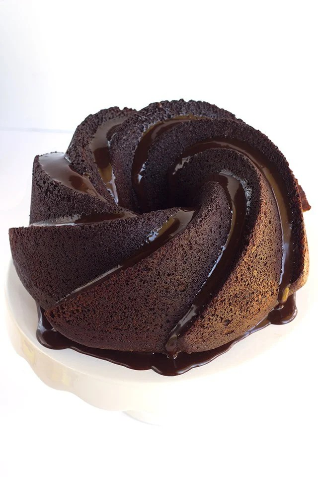 Chocolate Whiskey Cake - Whiskey infused chocolate bundt cake topped with a boozy chocolate ganache!