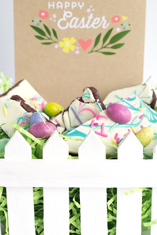 Easter Truffle Bark - milk chocolate ganache sandwiched between white chocolate and topped with delicious Easter candies and festive sprinkles.