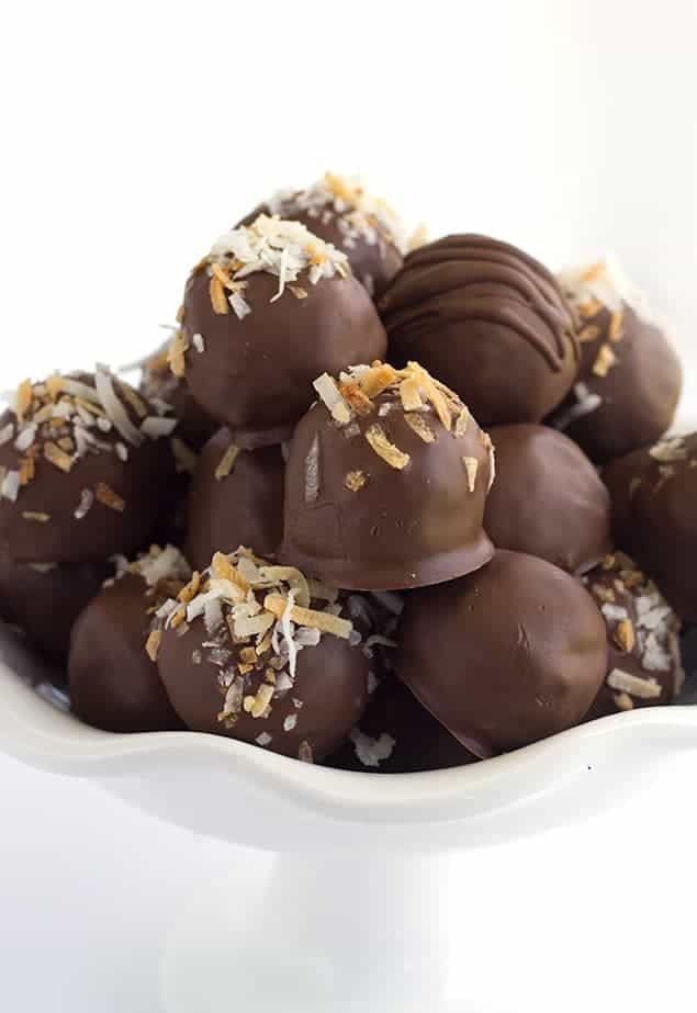 German Chocolate Truffles - you know the german chocolate cake filling? That is inside of these truffles along with some german chocolate to firm them up. I went a step further and toasted the coconut and pecans because why not.