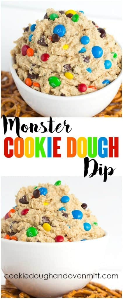 collage of monster cookie dough dip for pinterest