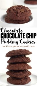 a pinterest collage for double chocolate chip pudding cookies