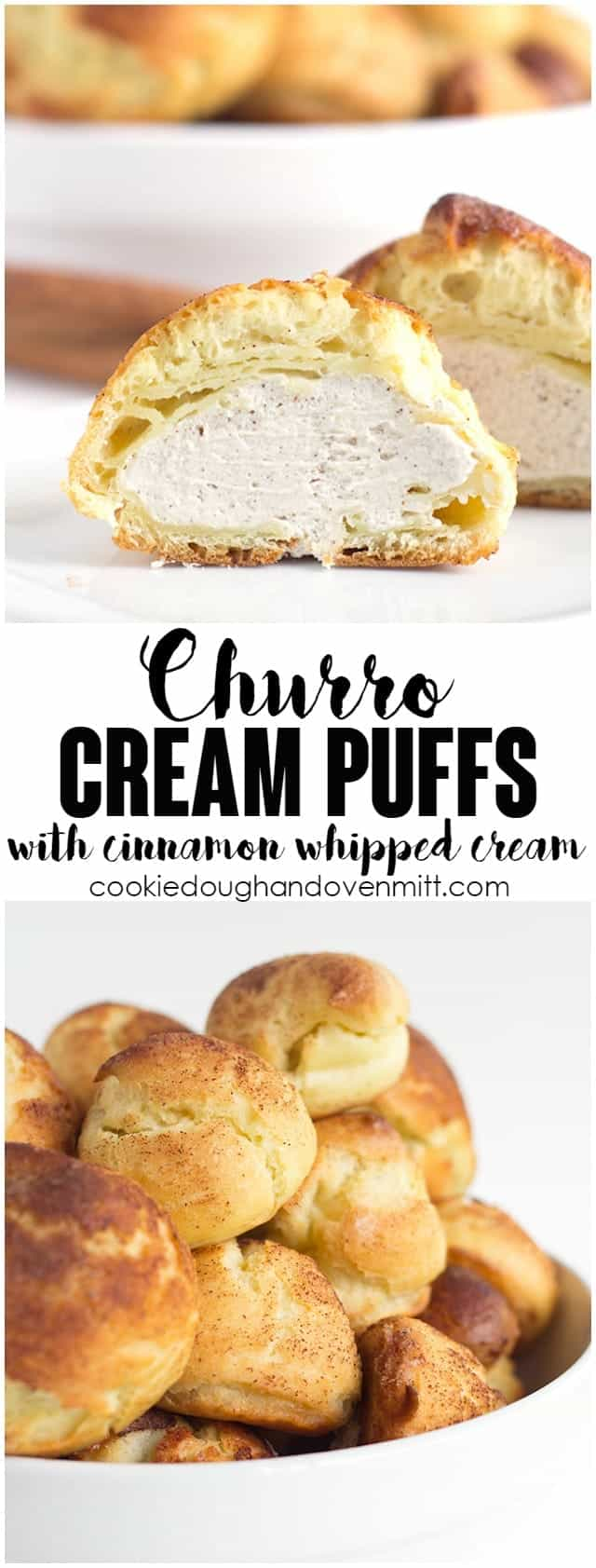 Churro Cream Puffs - easy cream puffs topped with cinnamon and sugar and filled with a cinnamon whipped cream.