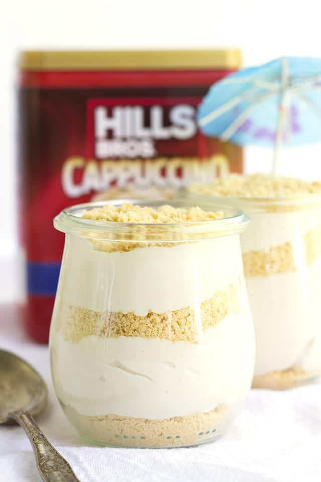 glasses of no bake cappuccino trifles