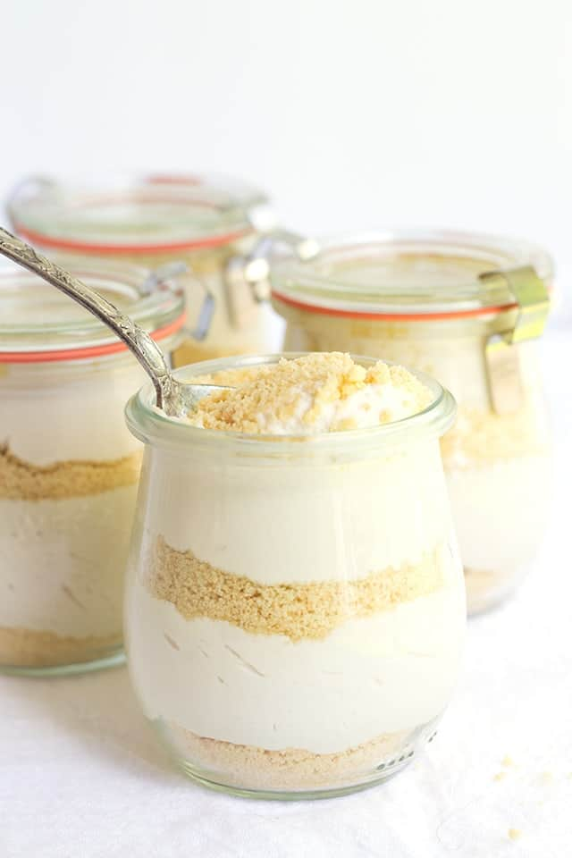 mini no bake cappuccino trifles with a spoon in it