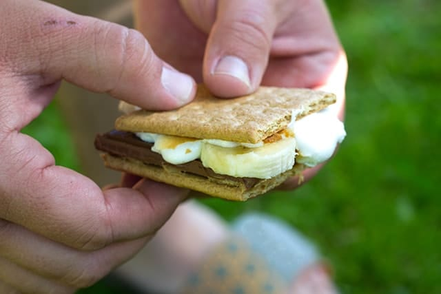 Peanut Butter Banana S'mores - Put a fun spin on the traditional S'mores by adding peanut butter and sliced bananas.