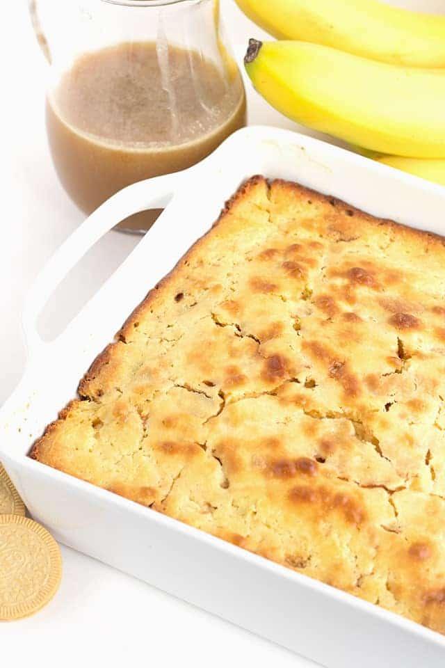 pan of bananas foster pancake casserole