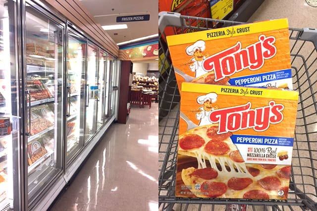 image showing the frozen food aisle of a grocery store and boxes of Tony's pepperoni pizza