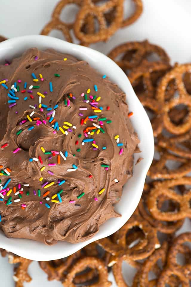 Brownie Batter Dip topped with colorful sprinkles