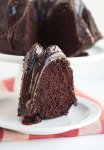 slice of chocolate bundt cake on plate