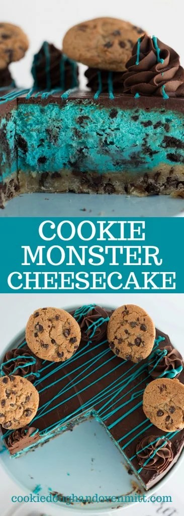 pinterest collage of the cookie monster cheesecake