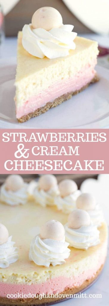 Pinterest collage for strawberries and cream cheesecake