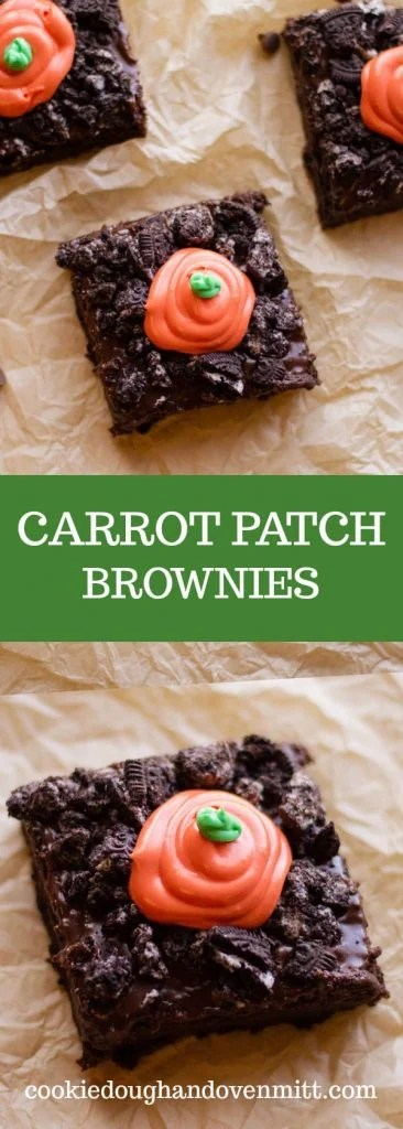 collage of carrot patch brownies pictures for pinterest