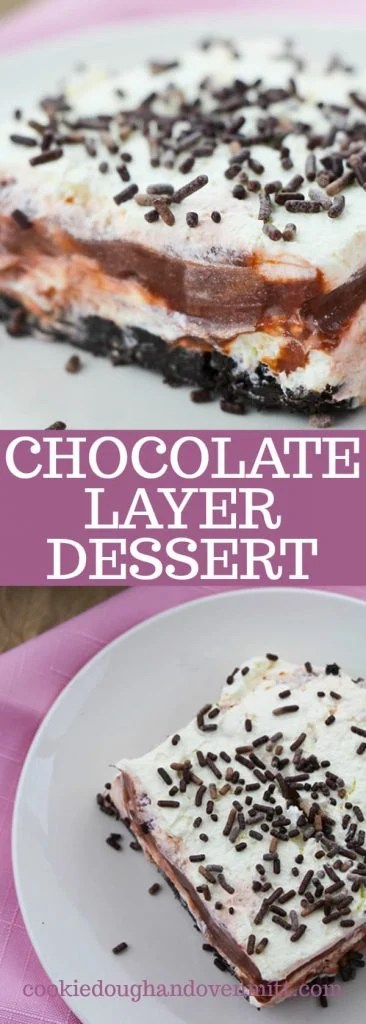 Collage of photos of the chocolate layer dessert for pinterest