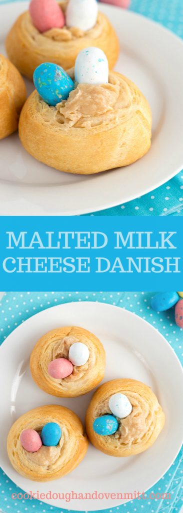 collage of pictures of the malted milk cheese danish for pinterest
